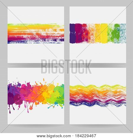 Set of four colorful horizontal banners with paint stains and splatters. Vector colorful banners with white background.