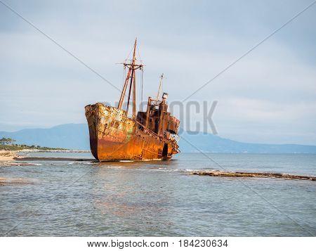 Shipwreck In A Beach