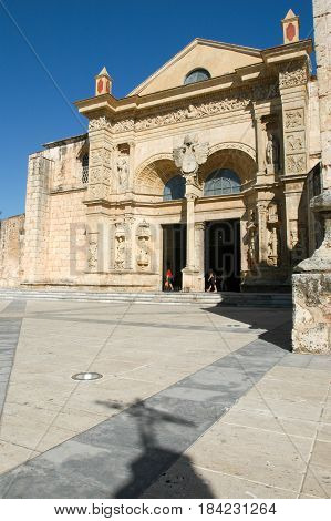 Santo Domingo Dominican Republic - 15 January 2002: 16th Century Cathedral of Santo Domingo on Dominican Republic