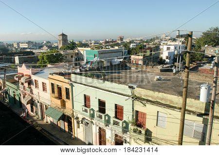 Santo Domingo, Dominican Republic - 3 february 2002: Houses in Santo Domingo's Zona Colonial Dominican Republic