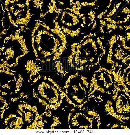 Golden Background with Seamless Pattern of Glittering Textile Stock Vector Illustration