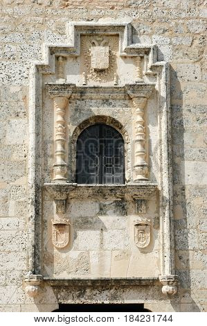 Santo Domingo, Dominican Republic - 3 february 2002: Window at colonial building of Las Casas Reales at Santo domingo on Dominican Republic