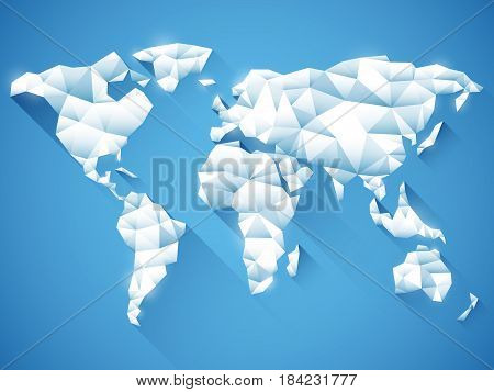 White polygonal world map on blue background