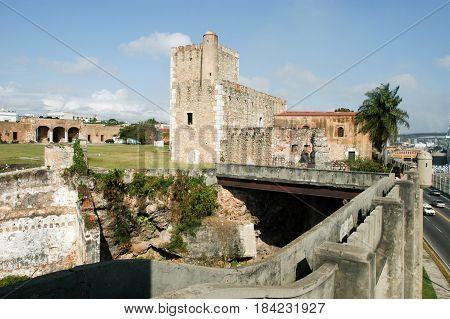 Santo Domingo, Dominican Republic - 3 february 2002: Diego Columbus palace ( alcazar ) in Santo Domingo Dominican Republic
