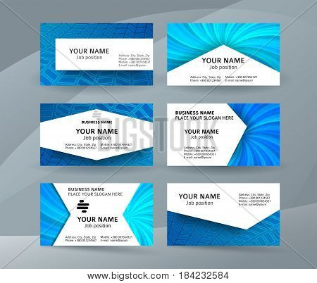Business Card Background Blue Set Of Horizontal Templates09