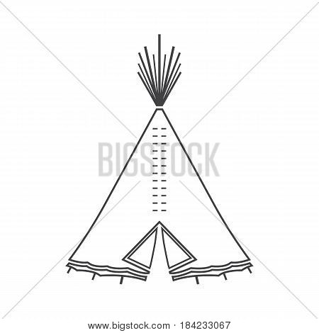 Icon or emblem of indian or tipi tent for outdoor recreation. Vector illustration is suitable for decorating camping