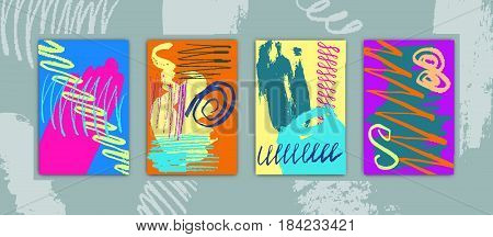 Set of Rectangular Cards with Hand Drawn Colorful Paints Creative Design for Holidays Days Stock Vector Illustration