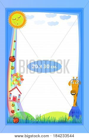Photo frame for a child. Illustrations for your design. Format for standard photo printing. Format A4. Vertical orientation. Giraffe and house on balloons