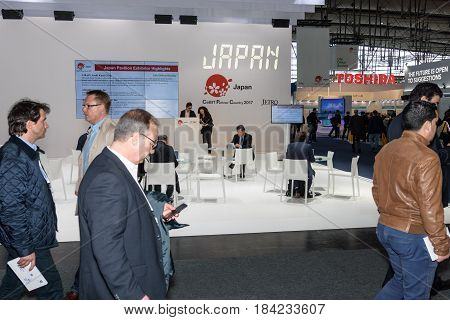 Hannover Germany - March 22 2017: View on a part of the Japan pavilion at CeBIT 2017 - Japan is the partner country in 2017. CeBIT is the world's largest trade fair for information technology.