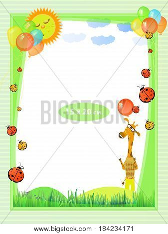 Photo frame for a child. Illustrations for your design. Format for standard photo printing. Format standard photo. Vertical orientation. Giraffe in the meadow under the sun