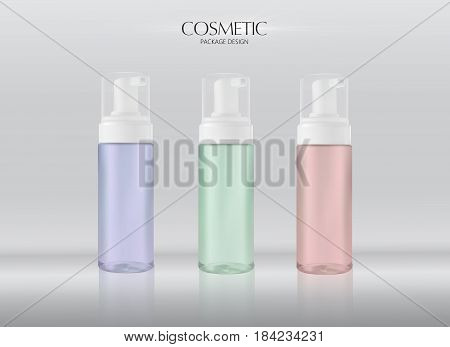 Moisturizing facial wash cosmetic products ads. Mousse nettoyante. Vector promo sample with opaque facial cleaner in 3d illustration.