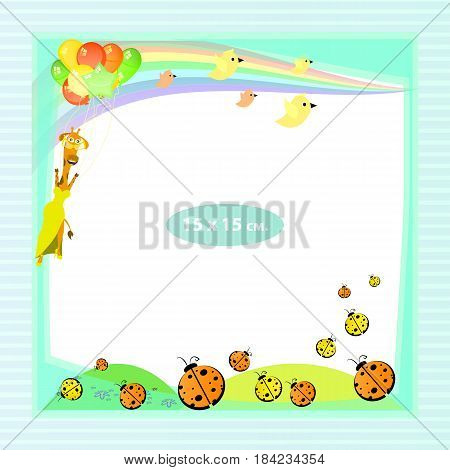 Photo frame for a child. Illustrations for your design. Format for standard photo printing. Format square photo. Flying giraffe on balloons