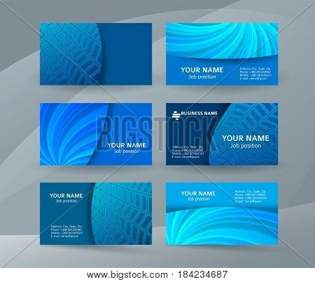 Business Card Background Blue Set Of Horizontal Templates12