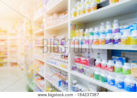 Pharmacy interior with blurred image background with sunlight