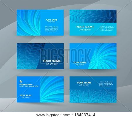 Business Card Background Blue Set Of Horizontal Templates14
