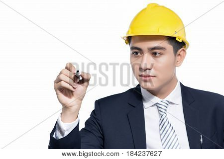 Asian architect engineer manager looking and writing by marker
