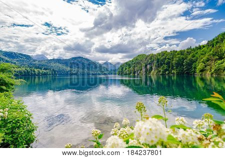 The Alpsee is a lake in Bavaria Germany. It's located near Neuschwanstein and Hoshenschwangau castles.