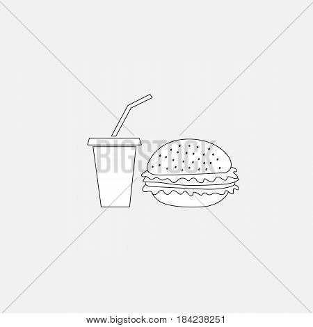 Hamburger and soda fastfood icon flat style vector illustration