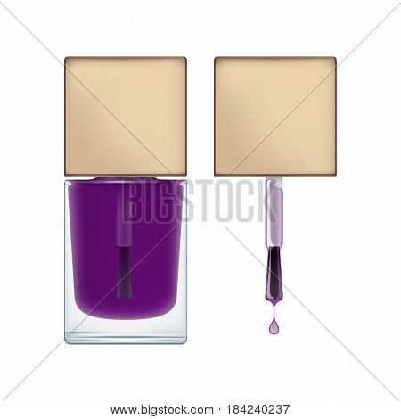 Realistic package for nail polish. Brush with cap and transperent glass bottle. Blank template of container with purple varnish for manicure. Vector illustration isolated on white.