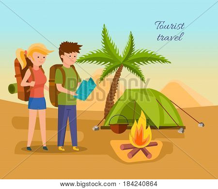 Summer vacation outdoor, camping and hiking. Young couple in adventure travels, exploring the terrain, setting a tent for living, kindles a fire. Modern vector illustration isolated in cartoon style.