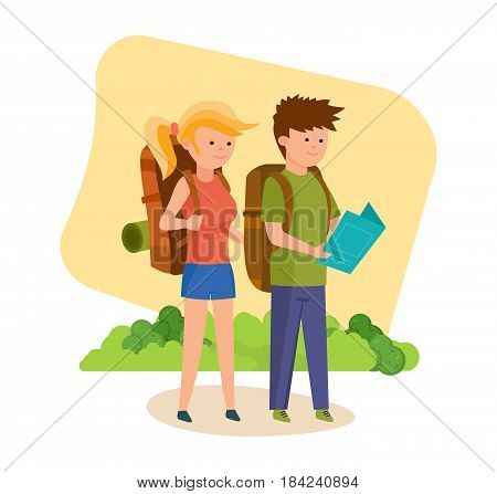 Summer vacation outdoor, camping and hiking. Tourists travel and are engaged in walking together along an unexplored area with map, signs in hands. Vector illustration isolated in cartoon style.