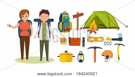 Hiking tourists walk and travel. Tourists, engaged in hiking, and camping, as well as basic equipment and facilities in joint hikes. Modern vector illustration isolated on white background.
