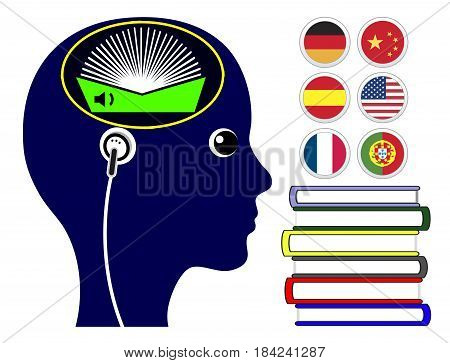 Foreign Language Audio Books. Woman is learning languages by listening with earphones