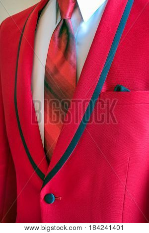 red tuxedo with silk necktie and white shirt