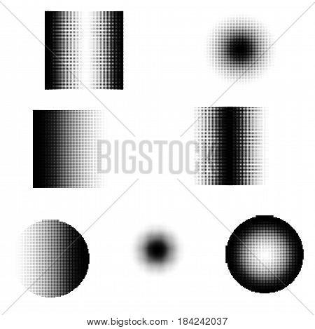 Halftone gradation Shapes Set for retro Design. Vector Illustration