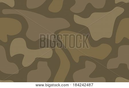 Camouflage seamless pattern Abstract vector illustration for printing on cloth textile Wallpaper paper wrapper. Different shades of brown color Background in military style