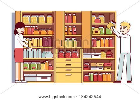 Man and woman, husband, wife doing housework in home pantry or cellar. Big cupboard full of jars, boxes, bottles, food preserves. Flat style cartoon vector illustration isolated on white background.