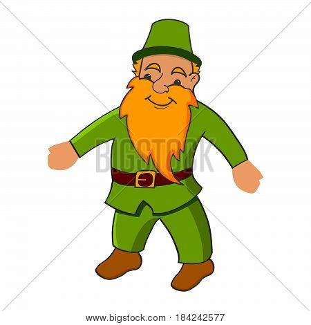 Vector an illustration the character with a beard.Joyful leprechaun.Cartoon happy leprechaun.