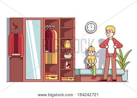 Father and little kid son dressing up in home wardrobe room. Big closet dresser full of man clothes, boxes, household things. Flat style cartoon vector illustration isolated on white background.
