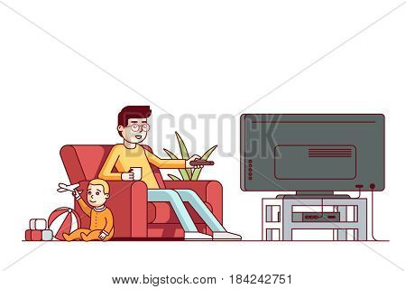 Father switching channels watching tv and looking after little baby son playing toys. Babysitter guy sitting with kid in living room armchair. Flat style vector illustration isolated on white.