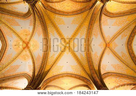 Ceiling Of Matthias Church In Budapest, Hungary