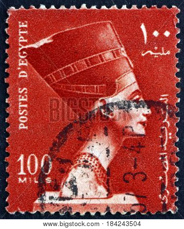 EGYPT - CIRCA 1953: a stamp printed in Egypt shows Queen Nefertiti National Symbol circa 1953