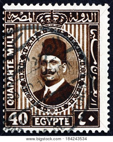 EGYPT - CIRCA 1932: a stamp printed in Egypt shows King Fuad Portrait circa 1932