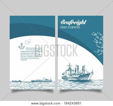 Leaflet. Marine theme. The Reefer Forwin and tankers in the ocean. Reefer sails on the waves of the sea. It can be use for a company that deals with cargo transportation or travel. Vector illustration