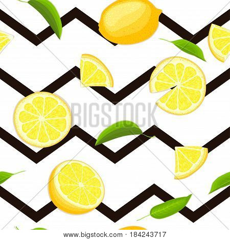 Ripe juicy tropical lemon striped seamless background. Vector card illustration. Fresh citrus yellow lime fruit, leaf on black zig zag lines. Seamless pattern for design healthy food diet juce, detox