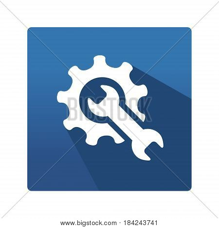Spanner and gear pictogram. Industrial icon in trendy flat style on blue background. Mechanics pictogram for your web site design, logo, app. Vector illustration, EPS10
