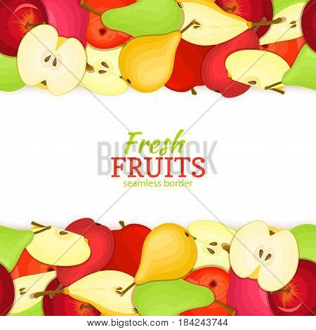 Apple pear horizontal seamless border. Vector illustration fruit coposition Yellow red and green apples pears fruits whole and slice for packaging design of juice jam breakfast healthy eating detox diet