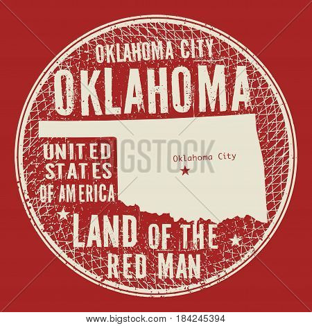 Grunge vintage round stamp or label with text Oklahoma City Oklahoma Land of the red man vector illustration