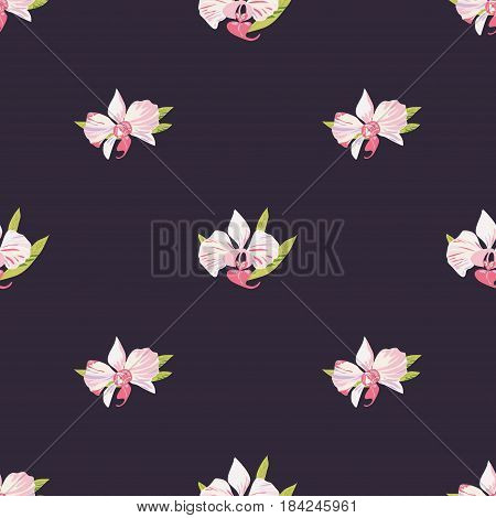 Seamless dark background with orchids. Beautiful floral pattern for print on textile fabric Wallpaper wrapping scrapbooking decoupage. Vector illustration with exotic flowers. Tropical ornament