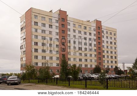 New Urengoy, YaNAO, North of Russia. September 1, 2013. Many-storeyed houses on the passage Of the Peoples of the North