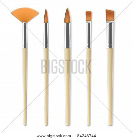 Realistic artist paintbrushes set. Fan, round, flat, angle brush. Watercolor, acrilic or oil brushes with light wooden handle, metal ferrule and sable, synthetic or nylon bristle. Vector illustration