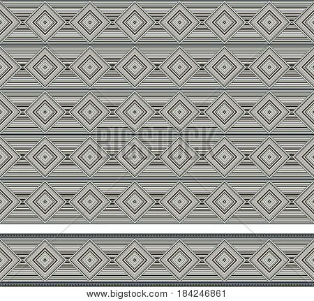 Seamless geometric texture and border, American Indians tribal style. Swatch and pattern brush are included in vector file.