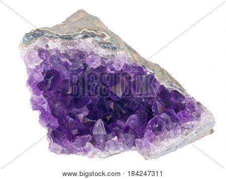 macro photo of lilac amethyst druse isolated on white background
