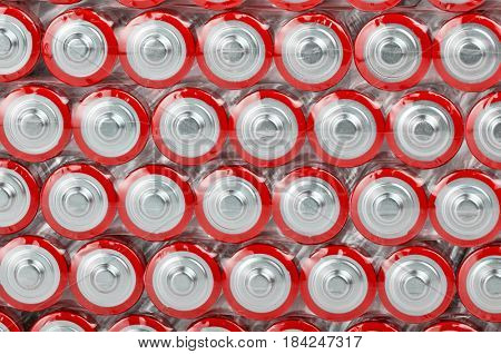 background from large group of red batteries
