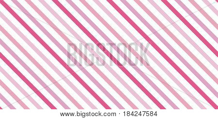 Background with a slanted diagonal stripes lines. Different shades of pink color. Vector illustration. Geometric background print on paperfabric gift wrap packaging bedding lining apparel
