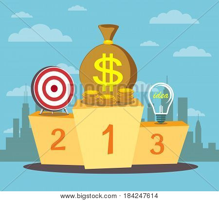 Pedestal with a light bulb in the first place symbolizing the power of the money. Business assistant. Best podium place for inventions vector illustration